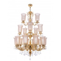 Majestic Gold & Crystal Aluminium 3 Tier 18 Light Chandelier with Golden Lustrous Textured Glasses