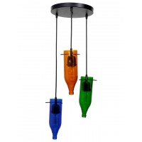 Multicolour Hanging Light in Inverted Bottle Shape with Glass and Steel Body 3 Lampshade Hanging Lamp for Restaurants, offices, etc