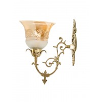 Ornate Cast Brass Lustrous Single Wall Sconce