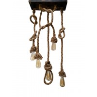 Jute Rope Set of 5 Lights Hanging Pendant Light