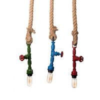 Industrial Multicolor Pipe Rope Pendant Light
