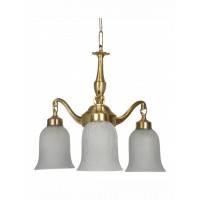 Classic Down Facing 3 Light Small Brass Chandelier