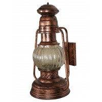 Asthetic Lantern Shape with Antique Copper Finish and Steel Wall Light with Glass Covering Wall Lamp for Home Decor (E27 Holder)