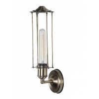 Long Wire Cage Industrial Antique Brass Finished Wall Sconce