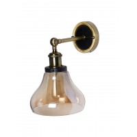 Small Golden Glass Bell Wall Sconce in Antique Brass and Black Finish
