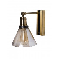 Modern Rectangular Antique Wall Sconce with Black Stripe and Golden Conical Glass