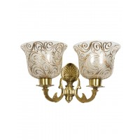 Traditional Twin Arm Antique Brass Wall Light with Frosted Glass Shades with Jaipuri designing on glass