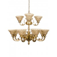 Brass Cast Arm And Golden Mosaic Glass 2 Tier 12 Light Chandelier