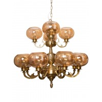 Jaisalmer 2 Tier 12 Lights Brass Chandelier with Golden Glass Shades