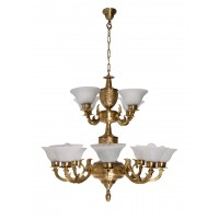 Jaisalmer 2 Tier 12 Lights Brass Chandelier with Crackle Glass Shades