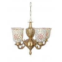 Priya 5 Light Brass Chandelier with Tilak Mosaic Glass Shades