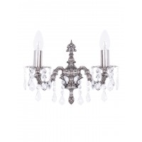 Dainty English Silver Antique Crystal Double Wall Sconce