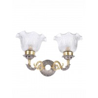 Dual Finish Crinkle Double Brass Wall Light