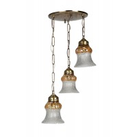 Triple Lustrous Antique Brass Hanging Light