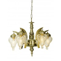5 Light Leaf Cut Glass Lantern Chandelier
