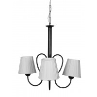 Small 3 light black chandelier with pleated ivory fabric shades.