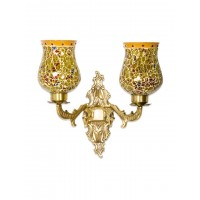 Priyanka Fiery Glass Ornate Double Wall Sconce
