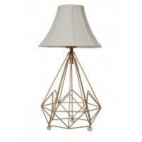 Brighten dull corner of your rooms with this modern Art Deco style inspired multi-faceted diamond-shaped cage bedside table lamp in bell-shaped  creme coloured fabric shade