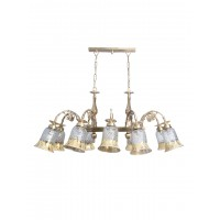 Downward Cast Brass Rectangular 10 Light Smoked Glass Chandelier