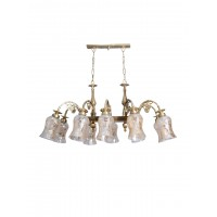 Downward Cast Brass Rectangular 10 Light Lustrous Glass Chandelier