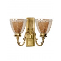 Rectangular Brass with Lustrous Glass Double Wall Sconce