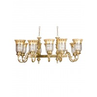Unique Horizontal Cast Brass Rectangular 10 Light Chandelier