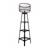 Rustic Industrial Rivet Black Floor Lamp