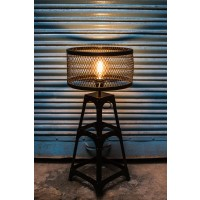 Rustic Industrial Rivet Black Table Lamp