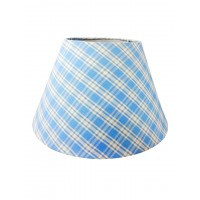 Round Blue Checkered 12 Inches Fabric Shade