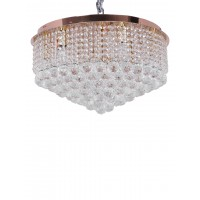 Flush Mount Rose Gold Round Crystal Ball Chandelier
