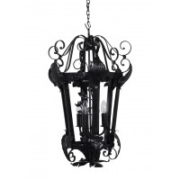 Black Colonial 3 Light Open Frame Lantern Foyer Chandelier Pendant Light