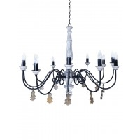 Chic French country 12 light rustic white chandelier