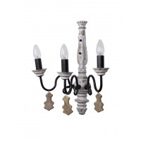 Chic French country 3 Light Rustic White Wall Sconce