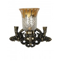 Vintage Rope & Tassel Aluminium Single Wall Sconce with Smoked Cut Glass in Oxidized Brass Finish