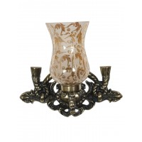 Vintage Rope & Tassel Aluminium Single Wall Sconce with Luster Etched Glasses in Oxidized Brass Finish