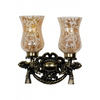 """Vintage Rope & Tassel Aluminium Double Wall Sconce with Smoked Cut Glass """