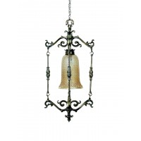 Spanish antique finished small foyer pendant lamp
