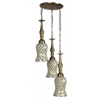 Triple Golden Moti Brass Hanging Light