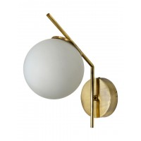 Mid Century Modern Steel Tangent Wall Sconce in Matt Gold Finish and Frosted Glass Globe