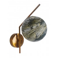 Mid Century Modern Steel Tangent Wall Light in Antique Gold and Black Yellow Marble Glass Globe