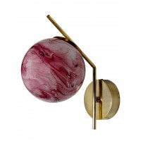 Mid Century Modern Steel Tangent Wall Sconce in Matt Gold Finish and Red Marble Glass Globe