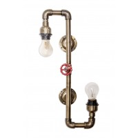 Contorted Industrial Pipe double Sconce