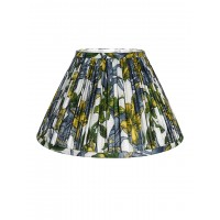 English Green Flowers Pleated  14 Inches Fabric Lampshade (for E27)