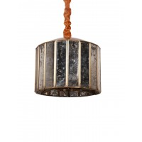 Aged Mirrored Glass Strips Drum Pendant Light