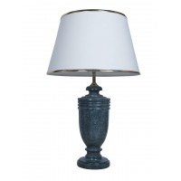 Green Marble Trophy Table Lamp with Gold Cream Shade