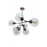 Branching 8 Light Antique Copper Chandelier