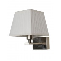 Satin Steel Bedside Wall Light with White Pleated Square Fabric Shade