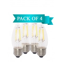 6W LED Filament Clear Candle E27 Bulb Warm White - Pack of 4