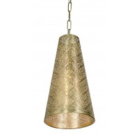 Surreal etched antique gold hanging light