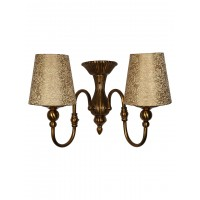 Victoria Cast Brass Antique Bronze Double Wall Sconce with Golden Brocade Fabric Shades